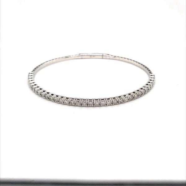 14 Karat White Gold 1.96ct Diamond Bangle Flex Bracelet Rialto Jewelry San Antonio, TX