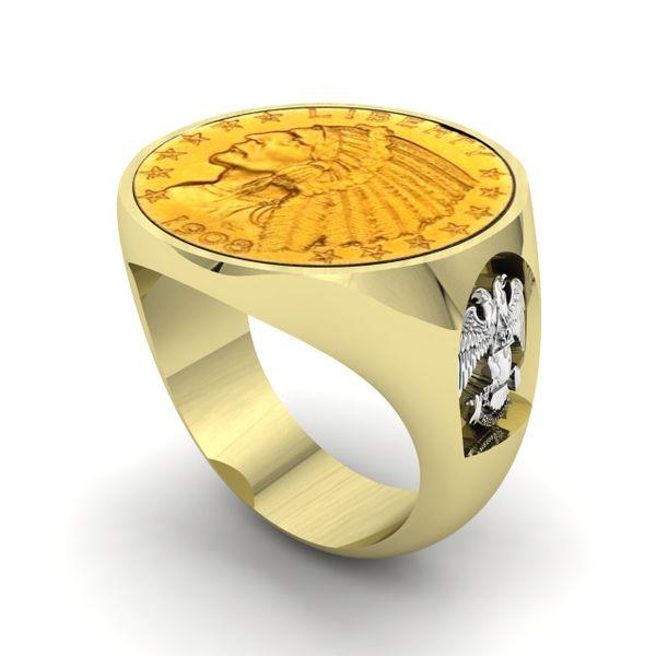 Men's Custom Coin Ring Rialto Jewelry San Antonio, TX
