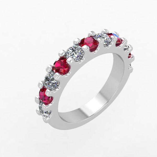 Custom Ruby and Diamond Wedding Band Rialto Jewelry San Antonio, TX