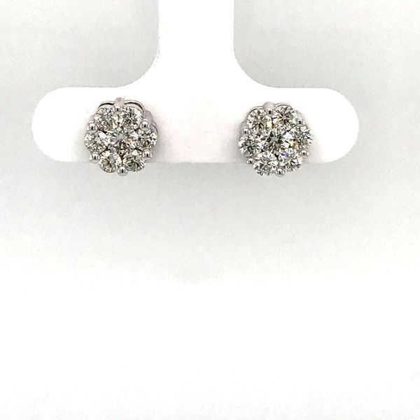 10 Karat White Gold 1.0 Carat 7 Stone Flower Diamond Stud Earrings  Rialto Jewelry San Antonio, TX