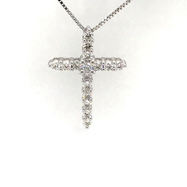 14 Karat White Gold 1.03 Carat Diamond Cross Necklace Rialto Jewelry San Antonio, TX