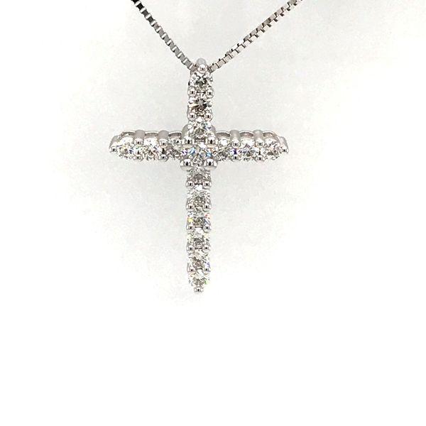 14 Karat White Gold 1.03 Carat Diamond Cross Necklace Rialto Jewelry San Antonio, TX