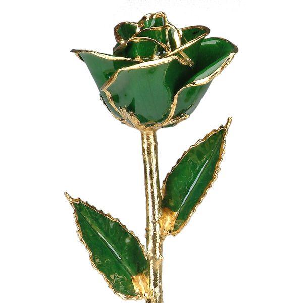 Dark Green 24k Gold Dipped Rose Robert Irwin Jewelers Memphis, TN