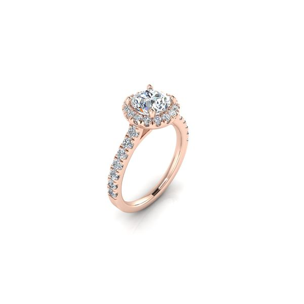 Round halo engagement ring - pink - Try on at home FREE Image 2 Robert Irwin Jewelers Memphis, TN