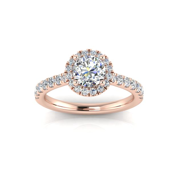 Round halo engagement ring - pink - Try on at home FREE Robert Irwin Jewelers Memphis, TN
