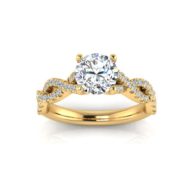 Lizzo infinity twist engagement ring - yellow - Try on at home FREE Robert Irwin Jewelers Memphis, TN