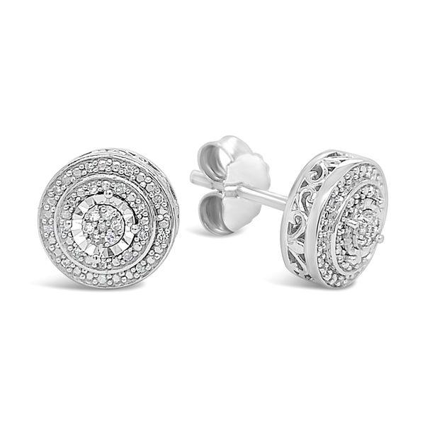 Sterling Silver 1/10ctw Diamond Circle Pendant Image 3 Robert Irwin Jewelers Memphis, TN