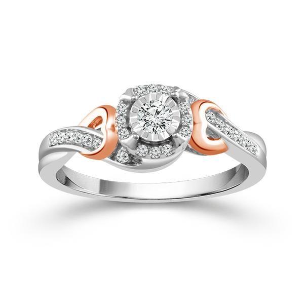 10k Two Tone .20ctw Diamond Halo Promise Ring Robert Irwin Jewelers Memphis, TN