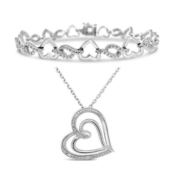 Sterling Silver 1/10ctw Diamond Heart Bracelet Robert Irwin Jewelers Memphis, TN
