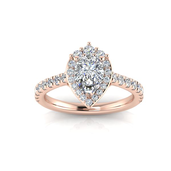 Tiara pear shaped halo engagement ring - pink - Try on at Home FREE Robert Irwin Jewelers Memphis, TN