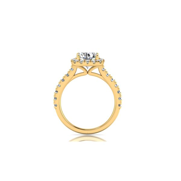Cushion halo engagement ring - yellow - Try on at home FREE Image 3 Robert Irwin Jewelers Memphis, TN