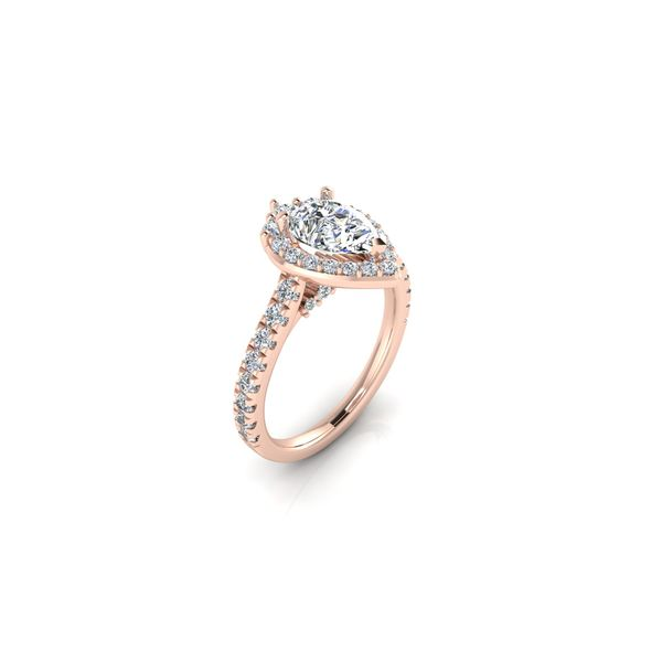 Tiara pear shaped halo engagement ring - pink - Try on at Home FREE Image 2 Robert Irwin Jewelers Memphis, TN