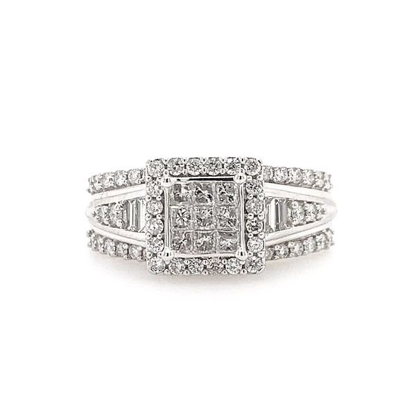 10k White Gold 1.00ctw Princess Cut, Round, and Baguette Diamond Halo Engagement Ring Robert Irwin Jewelers Memphis, TN