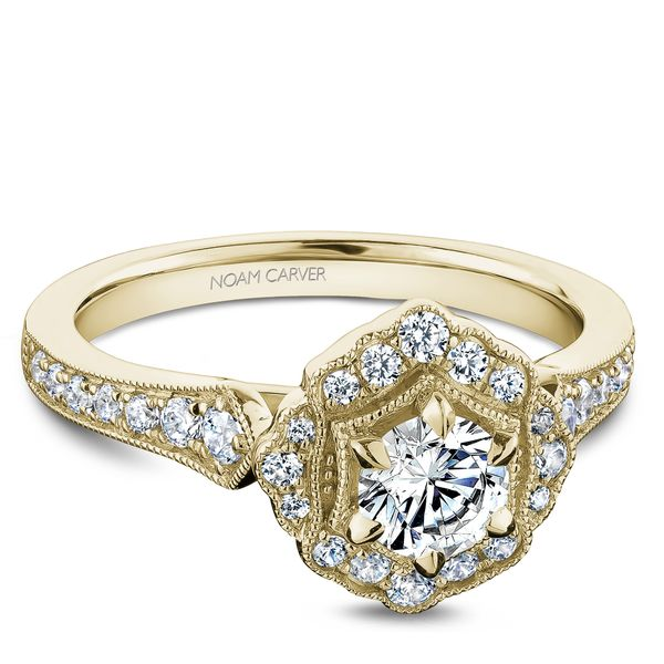 Noam Carver 14k Yellow Gold 3/4ctw Halo Engagement Ring with 0.33ct Round Center Diamond Robert Irwin Jewelers Memphis, TN
