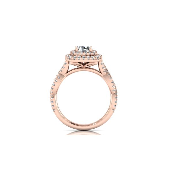 Infinity twist double halo engagement ring - pink - Try on at home FREE Image 3 Robert Irwin Jewelers Memphis, TN