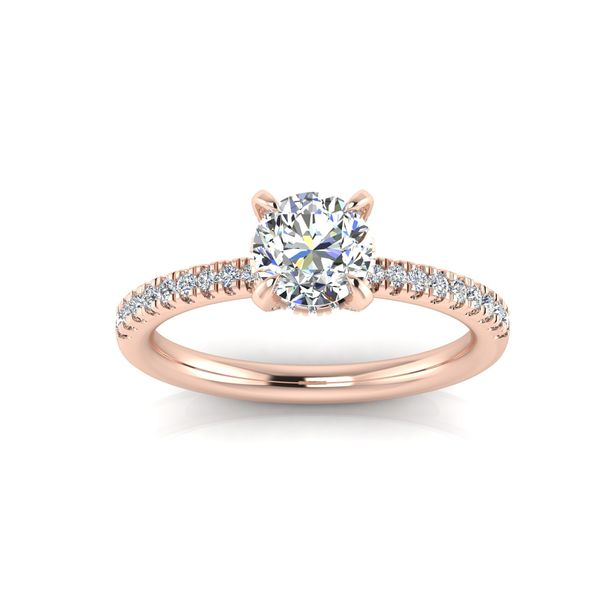 Shared prong diamond engagement ring - pink - Try on at home FREE Robert Irwin Jewelers Memphis, TN