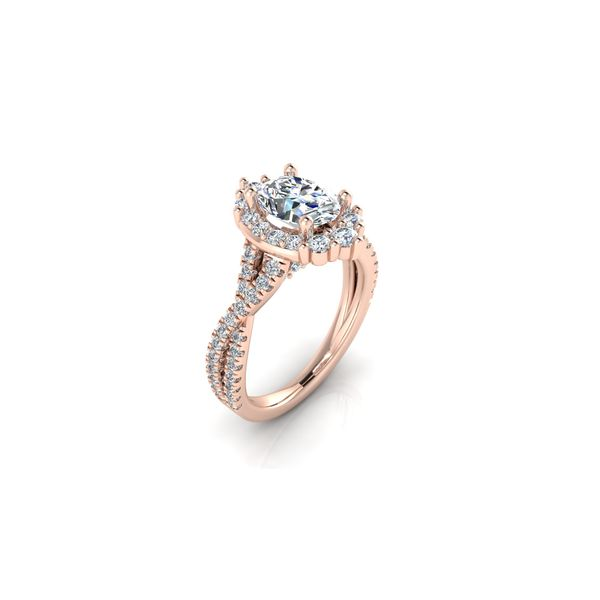 Taylor infinity twist oval halo engagement ring - pink - Try on at Home FREE Image 2 Robert Irwin Jewelers Memphis, TN