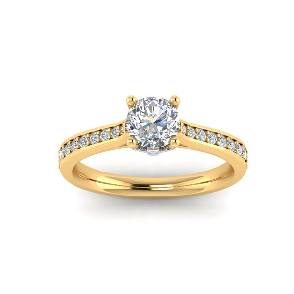 The Blue Lu fleur de lis solitaire engagement ring - yellow - Try on at Home FREE Robert Irwin Jewelers Memphis, TN
