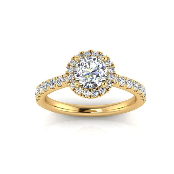 Round halo engagement ring - yellow - Try on at home FREE Robert Irwin Jewelers Memphis, TN