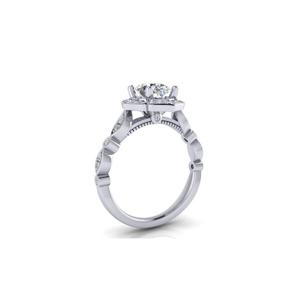 Angelina floral halo engagement ring - Try on at home FREE Image 3 Robert Irwin Jewelers Memphis, TN