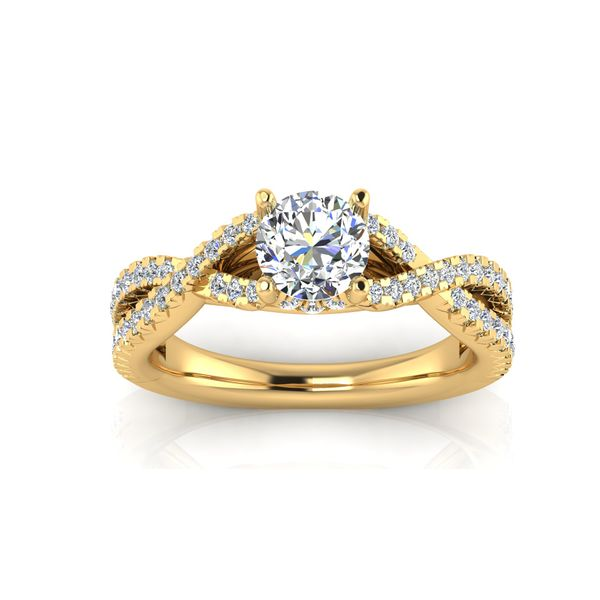 Laila infinity twist pave' engagement ring - yellow - Try on at home FREE Robert Irwin Jewelers Memphis, TN