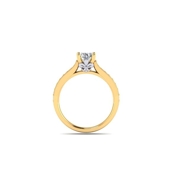 The Blue Lu fleur de lis solitaire engagement ring - yellow - Try on at Home FREE Image 3 Robert Irwin Jewelers Memphis, TN