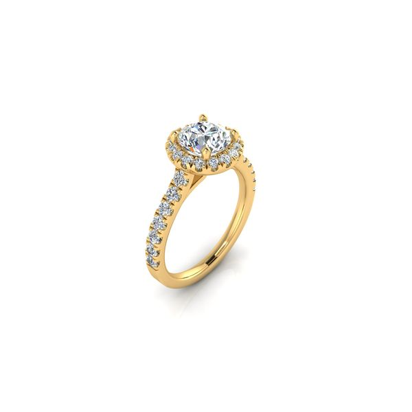 Round halo engagement ring - yellow - Try on at home FREE Image 2 Robert Irwin Jewelers Memphis, TN