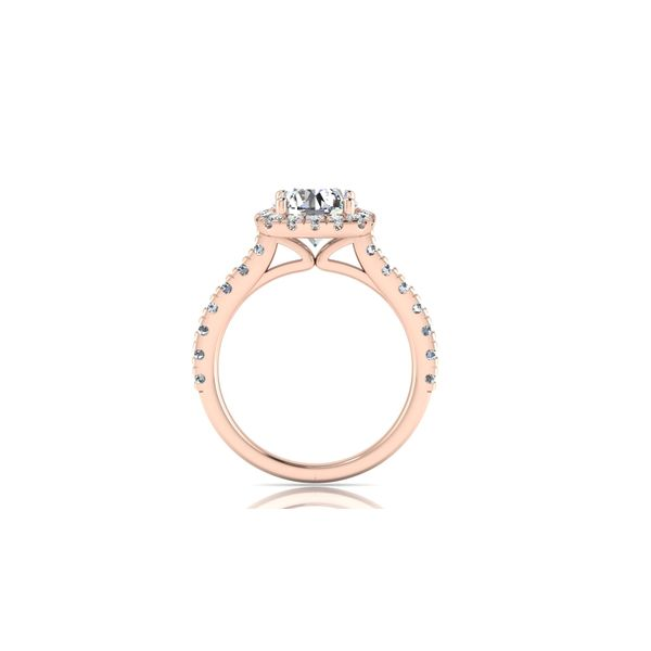 Cushion halo engagement ring - pink - Try on at home FREE Image 3 Robert Irwin Jewelers Memphis, TN