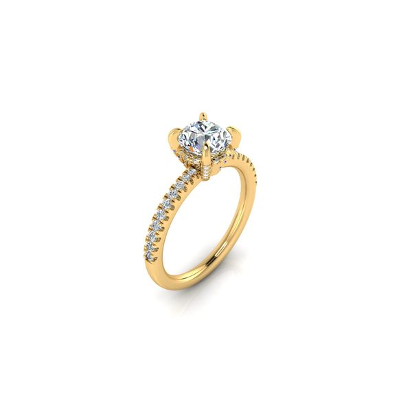 Shared prong diamond engagement ring - yellow - Try on at home FREE Image 2 Robert Irwin Jewelers Memphis, TN