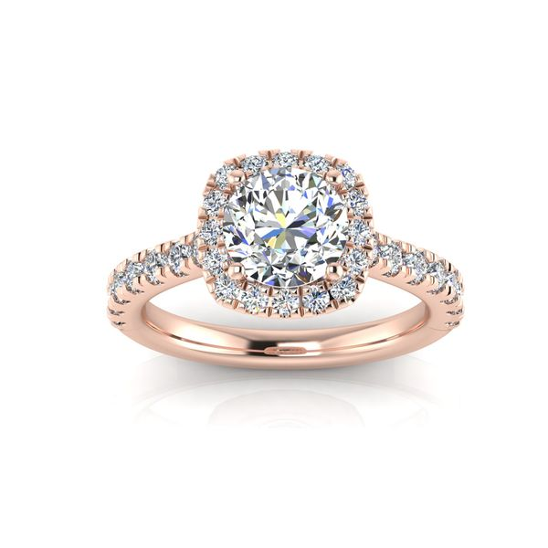 Cushion halo engagement ring - pink - Try on at home FREE Robert Irwin Jewelers Memphis, TN