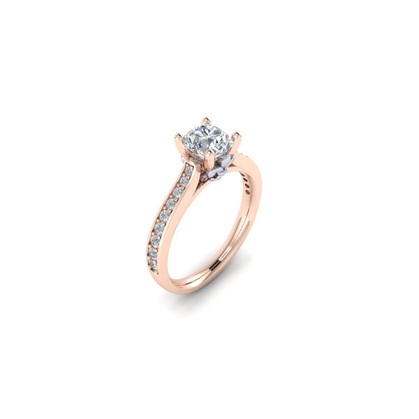 The Blue Lu fleur de lis solitaire engagement ring - pink - Try on at Home FREE Image 2 Robert Irwin Jewelers Memphis, TN