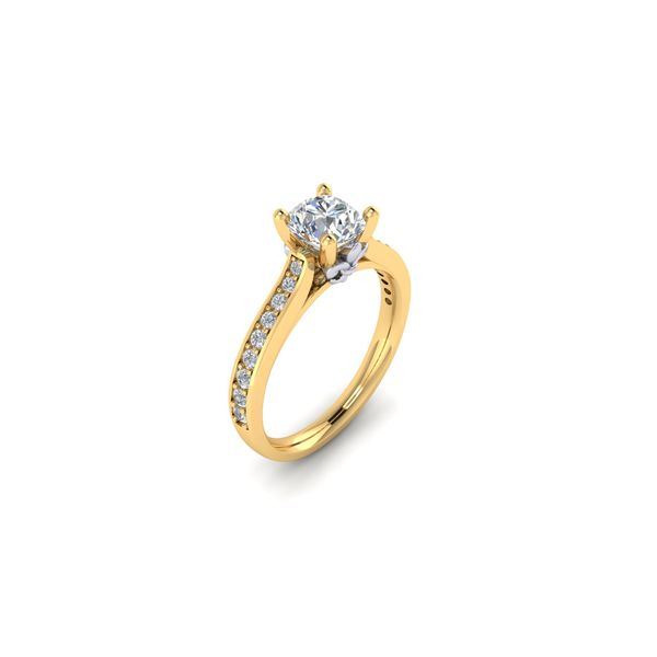 The Blue Lu fleur de lis solitaire engagement ring - yellow - Try on at Home FREE Image 2 Robert Irwin Jewelers Memphis, TN