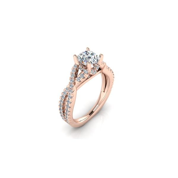 Laila infinity twist pave' engagement ring - pink - Try on at home FREE Image 2 Robert Irwin Jewelers Memphis, TN