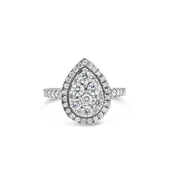 10k White Gold 1.00ctw Pear Shaped Halo Cluster Engagement Ring Robert Irwin Jewelers Memphis, TN