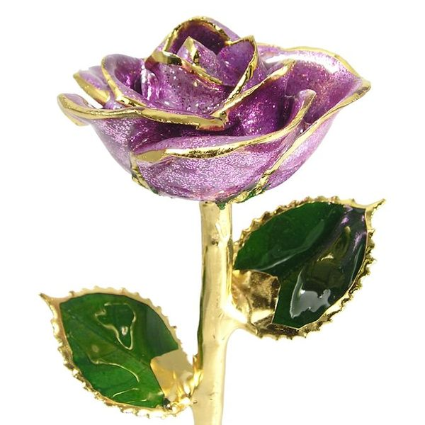 Lavender Sparkle 24k Gold Dipped Rose Robert Irwin Jewelers Memphis, TN