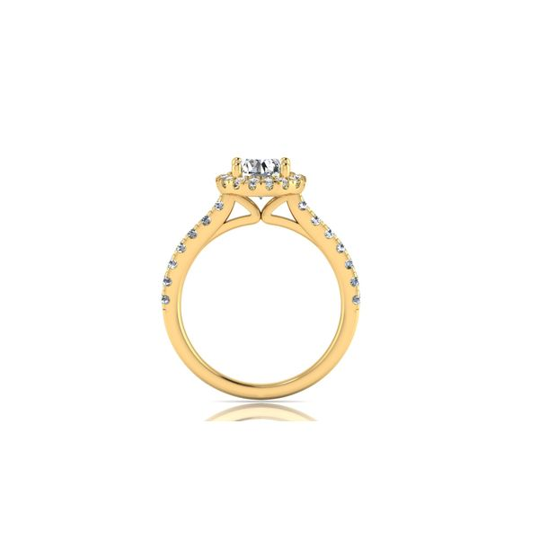Round halo engagement ring - yellow - Try on at home FREE Image 3 Robert Irwin Jewelers Memphis, TN