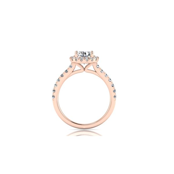 Round halo engagement ring - pink - Try on at home FREE Image 3 Robert Irwin Jewelers Memphis, TN