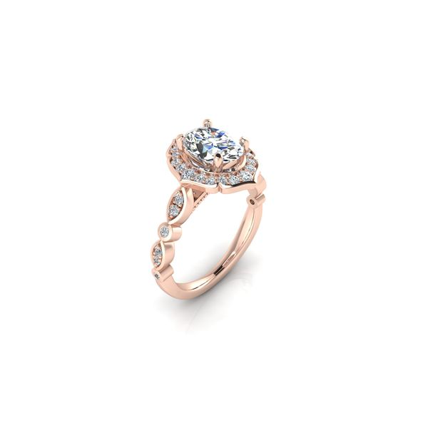 Angelina floral halo engagement ring - pink - Try on at home FREE Image 2 Robert Irwin Jewelers Memphis, TN
