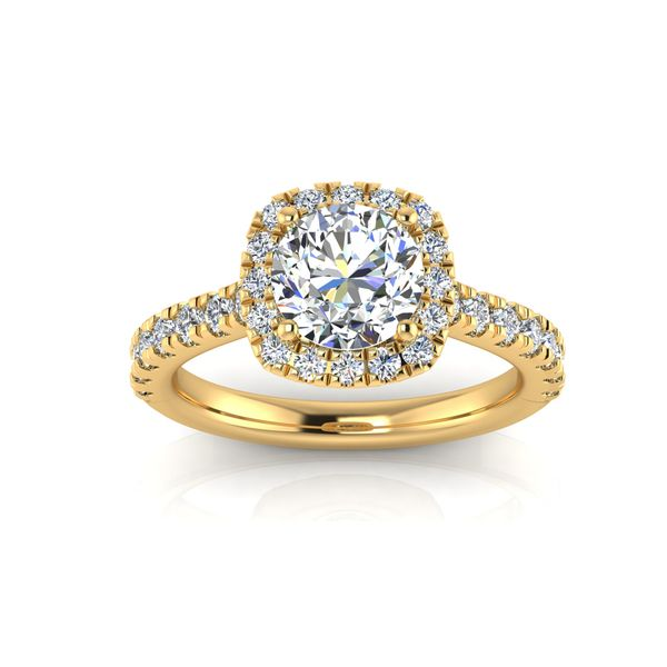 Cushion halo engagement ring - yellow - Try on at home FREE Robert Irwin Jewelers Memphis, TN