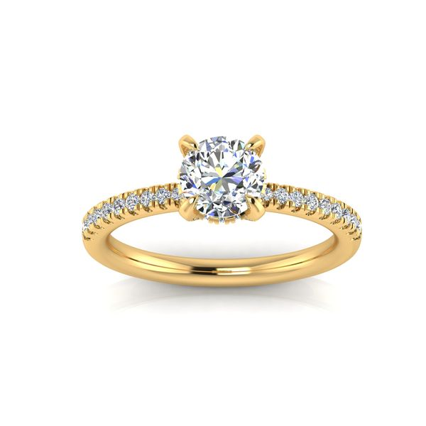 Shared prong diamond engagement ring - yellow - Try on at home FREE Robert Irwin Jewelers Memphis, TN