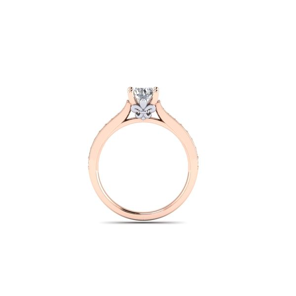 The Blue Lu fleur de lis solitaire engagement ring - pink - Try on at Home FREE Image 3 Robert Irwin Jewelers Memphis, TN