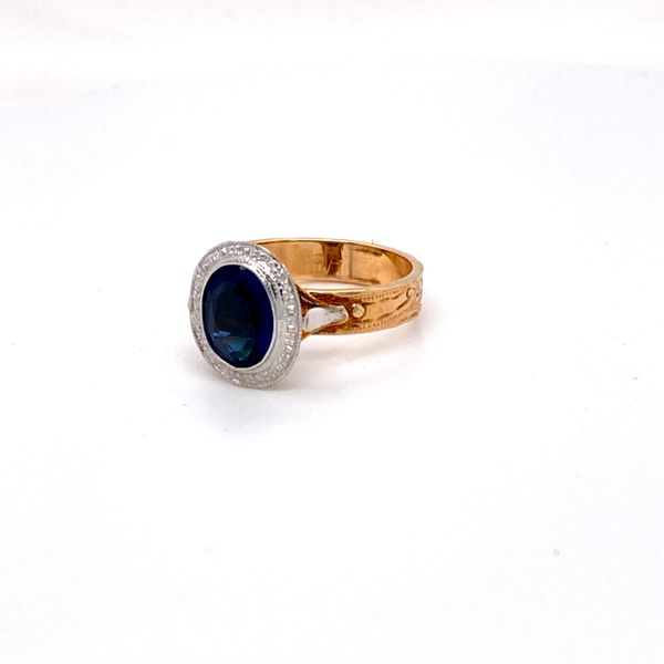 two tone oval sapphire ring Roberts Jewelers Meadville, PA