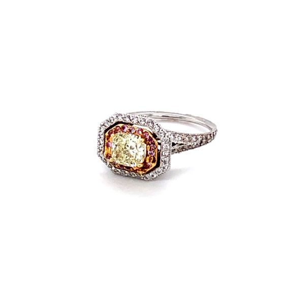 natural yellow cushion diamond ring Roberts Jewelers Meadville, PA