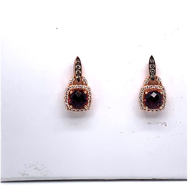 strawberry gold rhodalite and diamond earrings Roberts Jewelers Meadville, PA