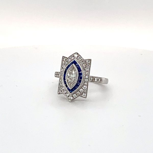white gold sapphire and diamond art deco ring Roberts Jewelers Meadville, PA