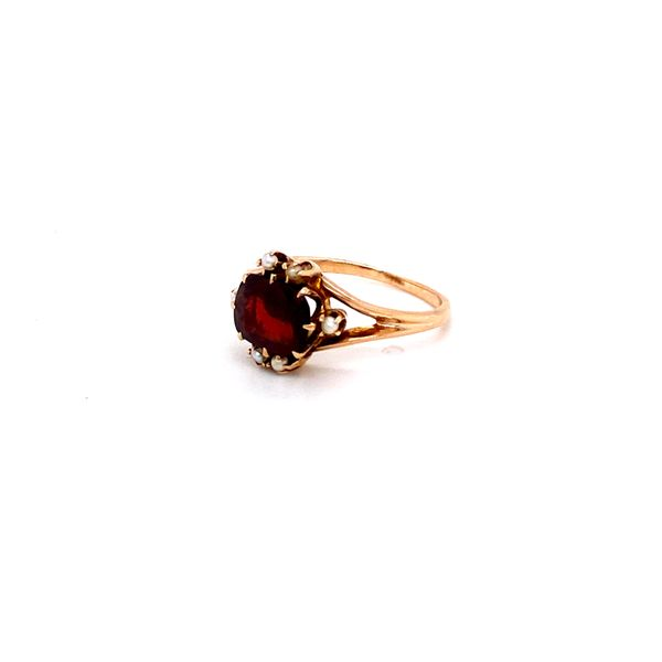 cushion garnet with seed pearls Roberts Jewelers Meadville, PA