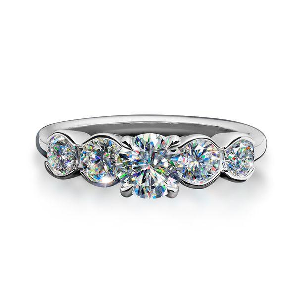 5 Stone Half Bezel Set Diamond Engagement Ring Romm Diamonds Brockton, MA