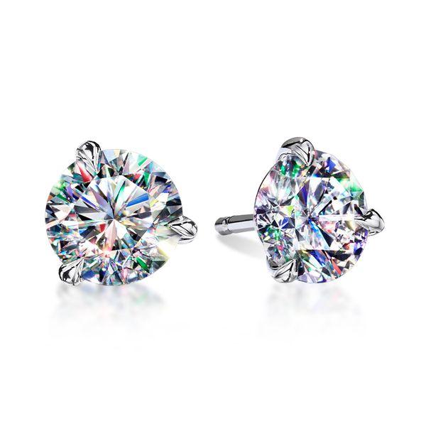 3 Prong Martini Studs Diamond Earrings Romm Diamonds Brockton, MA