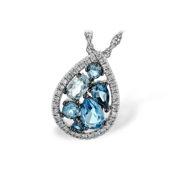 Blue Topaz and Diamond Necklace Score's Jewelers Anderson, SC