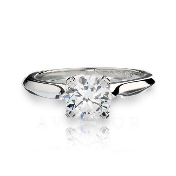 14k WG Fancy Crown Cathedral Solitaire Engagement Ring  The Ring Austin Round Rock, TX